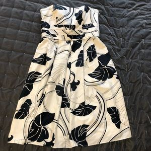 Ann Taylor Silk Strapless Floral Dress